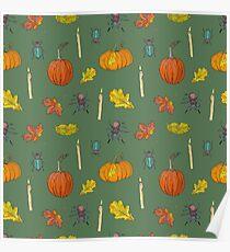 Autumn Halloween pattern Poster