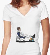Formula 1 - Fernando Alonso deckchair - Cutout Women's Fitted V-Neck T-Shirt