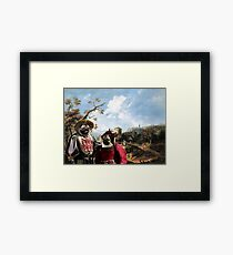 Pug Art Canvas Print - The happy couple in landscape Framed Print