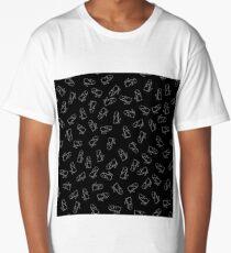 Hippopotamus Seamless Drawing Pattern on Black. Animal Cartoon Background Long T-Shirt