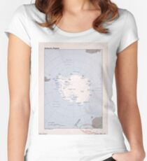 Map of the Antarctic Region (1982) Women's Fitted Scoop T-Shirt