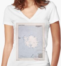 Map of the Antarctic Region (1982) Women's Fitted V-Neck T-Shirt