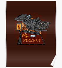 Ride the Firefly w/ Brown Background Poster