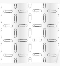 Paper Clip Silhouette Seamless Pattern on White Poster