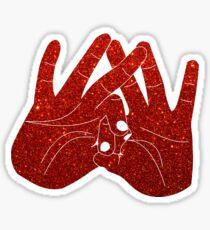 Red Glitter ASA hands Sticker