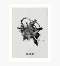 London, United Kingdom Black and White Skyround Art / Skyline Painting Art Print
