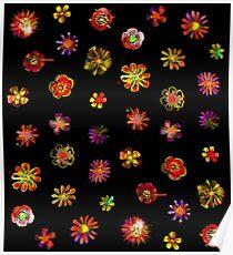 Watercolor Flowers black Poster