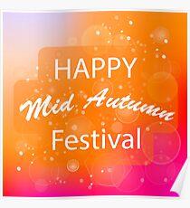 Happy Mid Autumn Modern Light Orange Backgound. Poster