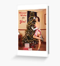 Pin up sexy woman decorate Christmas tree Greeting Card