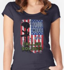 Proud Wife of a Fallen Soldier Veterans Day Shirt Women's Fitted Scoop T-Shirt