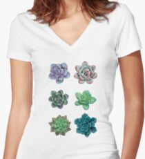Succulent Collection Women's Fitted V-Neck T-Shirt