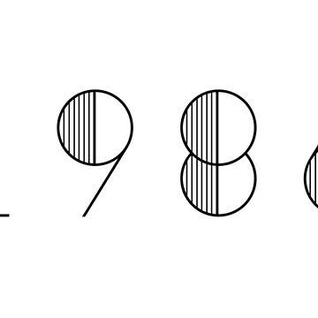 Vintage Paris 1986 Black Numbers Typography Birth Date by Birthdates