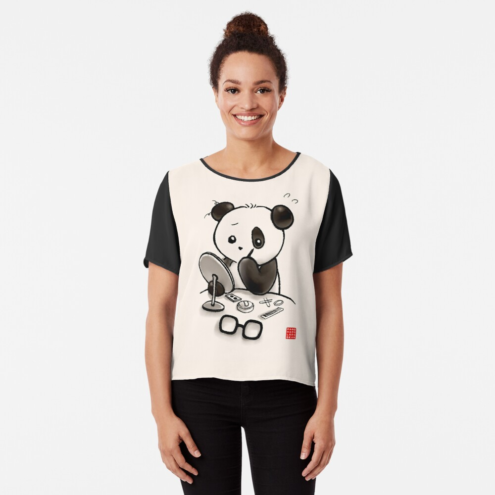 Panda Makeup Chiffon Top