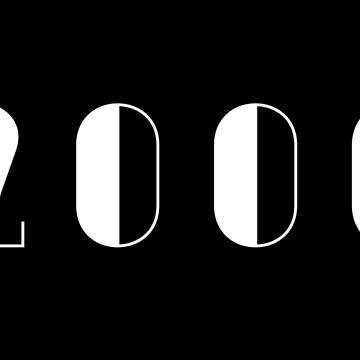 Vintage Birthday 2000 White Text Typography Birthday by Birthdates