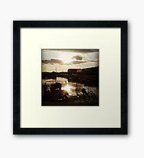 Marina ports cloudy sunset Framed Print