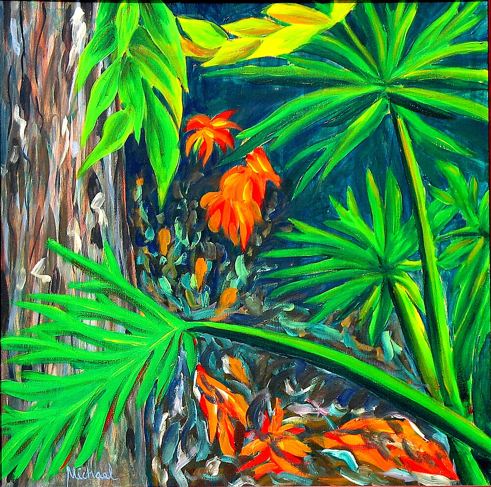 """""""Philodendrons"""" original signed nature painting on canvas by Michael Arnold"""