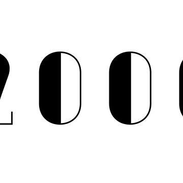 Vintage Birthday 2000 Black Numbers Typography Birth Date by Birthdates
