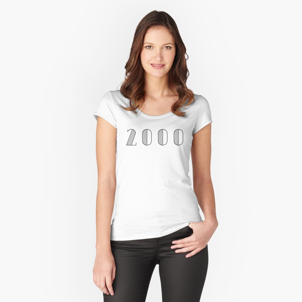 Vintage Paris Birthday 2000 Black Numbers Typography Birth Date Women's Fitted Scoop T-Shirt Front
