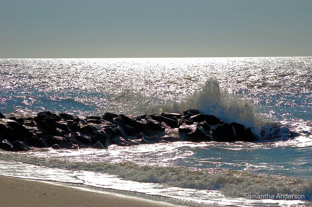 Waves Crashing On Rocks by Samantha Anderson
