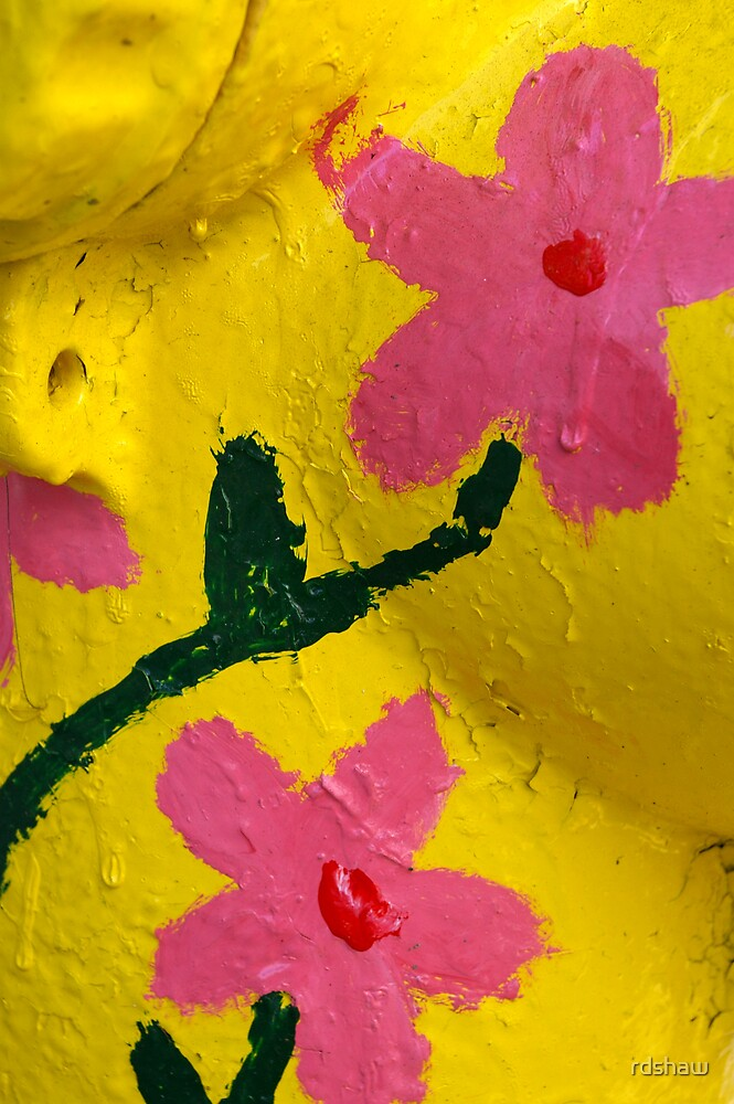 Pink Flowers on Yellow by rdshaw