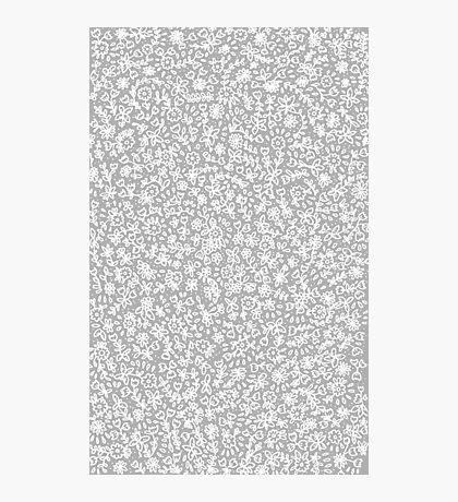 Petites fleurs blanches sur gris Impression photo
