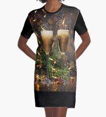 Happy New Year Graphic T-Shirt Dress