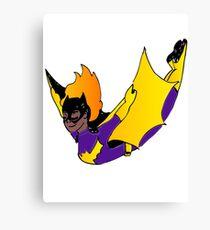 Bat Girl Leap (dark skin) Canvas Print