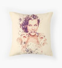 Milla Jovovich splatter painting Throw Pillow