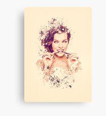 Milla Jovovich splatter painting Canvas Print
