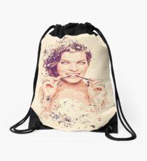 Milla Jovovich splatter painting Drawstring Bag