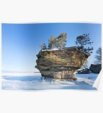 Turnip Rock in Winter - Port Austin Michigan Poster