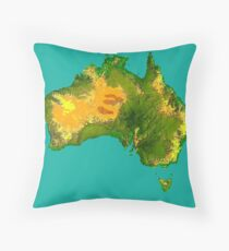 Australia Physical Map Throw Pillow