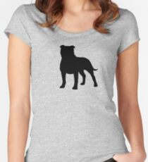 Staffordshire Bull Terrier Silhouette(s) Women's Fitted Scoop T-Shirt