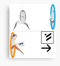 Portal 2 - Chell running from Turret to Cake Canvas Print