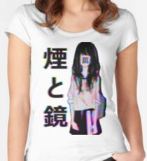 MIRRORS Sad Japanese Aesthetic Women's Fitted Scoop T-Shirt