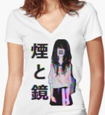 MIRRORS Sad Japanese Aesthetic Women's Fitted V-Neck T-Shirt
