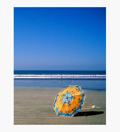 Beach with Parasol Photographic Print