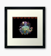 Vaporwave Dionysus - Greek statue art collage pop art with rainbow colors Framed Print