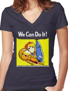 We can do it! Women's Fitted V-Neck T-Shirt