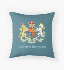 Royal Coat of Arms, Queen Elizabeth, British Monarchy Throw Pillow