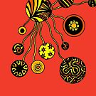 Spores in Red Orange and Yellow  by Heatherian