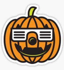 Hipster Pumpkin Cool Halloween T-Shirt  Sticker
