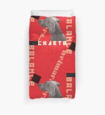 Constructivist Weimaraner Balancing Black Cube Duvet Cover