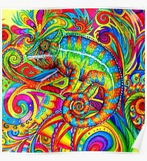 Psychedelizard Psychedelic Chameleon Colorful Rainbow Lizard Poster