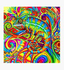 Psychedelizard Psychedelic Chameleon Colorful Rainbow Lizard Photographic Print