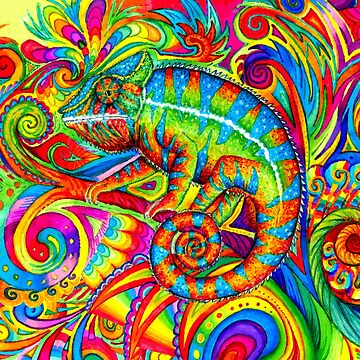 Psychedelizard Psychedelic Chameleon Colorful Rainbow Lizard by lioncrusher