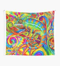 Psychedelizard Psychedelic Chameleon Colorful Rainbow Lizard Wall Tapestry