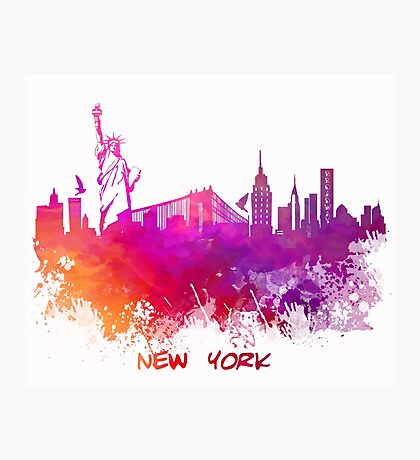 Skyline New York City pink red Photographic Print