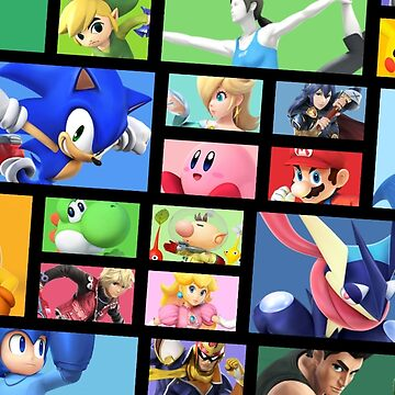 Super Smash Bros. For Nintendo 3DS/ Wii U Poster Brick Pattern by yoshisaredragon