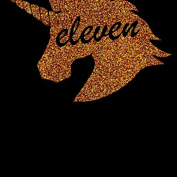 Gold Unicorn Eleven Years Old Girl Birthday T-Shirt by WarmfeelApparel